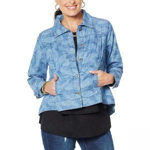 NWT DG2 Softcell Denim Jacket XL Blue Palm